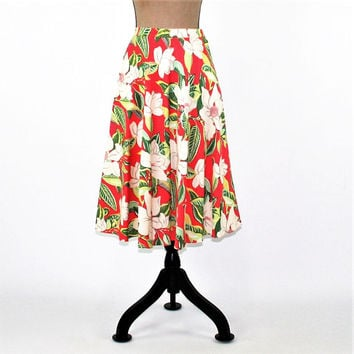 80s Cotton Skirt Women Small Floral Tropical Skirt Full Skirt Midi Skirt with Pockets Hawaiian Skirt Vintage Clothing Womens Clothing