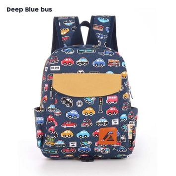 Toddler Backpack class AUSQI Little Cute Cartoon Bus Toddler School Backpack for Kid Boys Girls to Perschool Children Backpacks Bag with Chest Strap AT_50_3