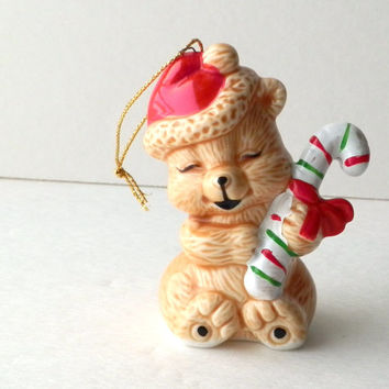 Bear Ornament with Santa Hat and Candy Cane