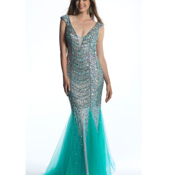 Dave & Johnny  Turquoise Sequin Low Back Trumpet Dress 2015 Prom Dresses
