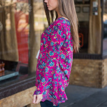 Bright Now Bouquet Top, Magenta