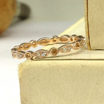 Citrine Diamond Wedding Ring 14K Rose Gold,Art Deco Antique Style,Full Eternity Band,Milgrain Matching Band,Fashion Fine Ring,Stackable