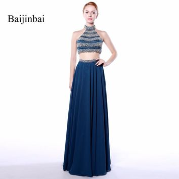 Baijinbai 2018 Prom Dresses A Line Two Pieces Elegant Halter Sleeveless Vestido De Festa Beading Long Fashion Formal Dresses 544