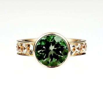 Green tourmaline bezel engagement ring with 0.80ct diamonds, bezel, yellow gold, rose gold, tourmaline solitaire, wide engagement