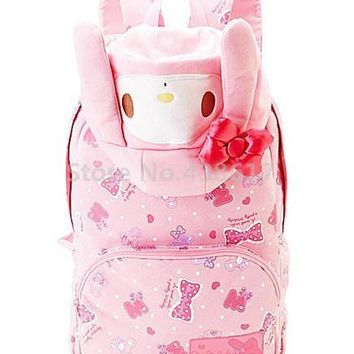 Cute Kawaii Pink My Melody With Hat Backpack School Bags for Girls Children Schoolbag Bag