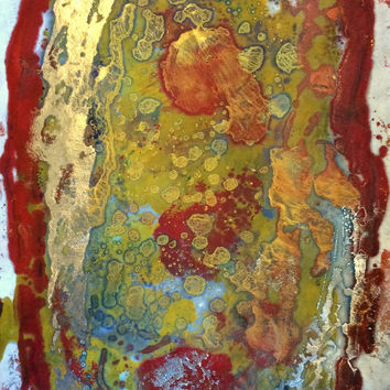 "Expression of hate - 12x18 "" Original abstract Encaustic monotype on rice paper"