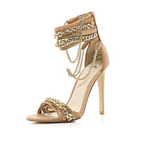 Brown multi chain strap sandals - heels - shoes / boots - women