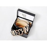 MOSCHINO Popular Women Men Wild Classic Candy Color Belt Metal Letters Buckle Belt Black I/A