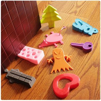 1PCS Cute Cartoon Leaf Cartoon Stop Style door stopper Silicon Doorstop Safety for Baby Home Decoration Random Colors