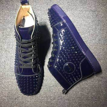 Cl Christian Louboutin Louis Spikes Mid Style #1803 Sneakers Fashion Shoes