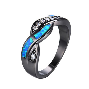 2016 New Fashion Blue Fire Opal CZ Diamond Cross Rings For Women Men Vintage Black Gold Filled Zircon Ring Wedding Jewelry RB850