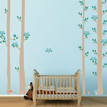cik1681 Full Color Wall decal bedroom children's Custom Baby Nursery tree nusery decal tree forest owl birds baby boy