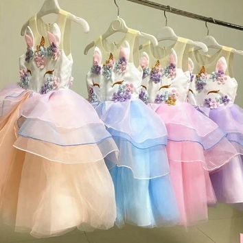 New Fashion Colorful Tulle Baby Girl Party Princess Dress Unicorn Girls Clothing Summer Kids Dress