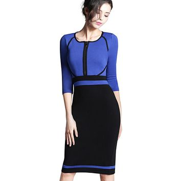 Nice-forever Spring Work Dress Patchwork Round Neck 3 4 Sleeve Business Fashion Sheath Bodycon Female Casual Pencil Dress B235