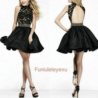 Sexy A Line Backless Little Black Lace Dress 2015 Homecoming Prom Party Dresses