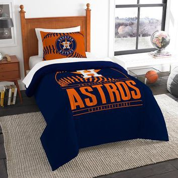 "Houston Astros MLB Twin Comforter Set (Grand Slam Series) (64 x 86"")"""