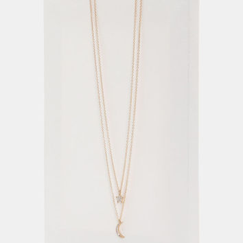 Layered Moon and Star Necklace - Accessories | Ardene