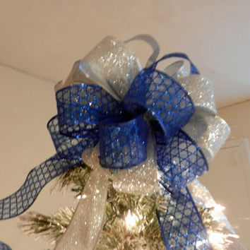 Large Sheer blue ribbon with Star of David in glitter and silver glitter Christmas Tree topper bow
