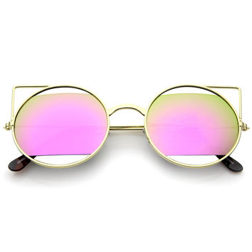 Women's Laser Cut Mirror Lens Cat Eye Sunglasses A349