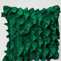 Emerald Green Satin Ruffle Pillow - Decorative pillow - Green Ruffle throw pillow - Ruffle throw cushion - gift pillow