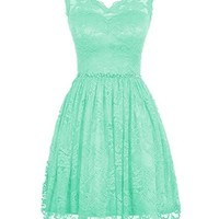 LOVEBEAUTY® Women's Elegant Lace V-neck Short Prom Dress Bridesmaid Dresses