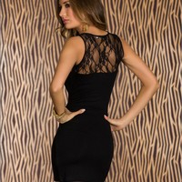 $ 17.89 Pealike Split Joint Lace Round Neckline Black Bodycon Dress