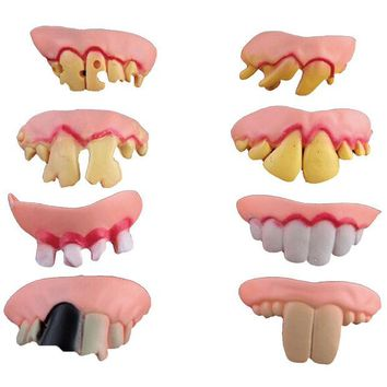 LMFONHS Hot Selling 8pcs Funny Goofy Fake Vampire Denture Teeth Halloween Decoration Props Trick Toy MD534