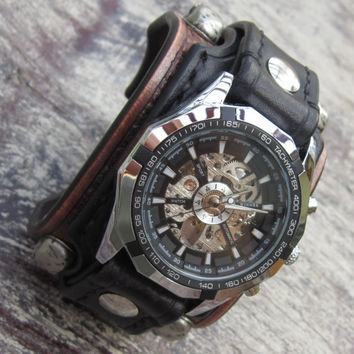 Biker Leather Skull Watch, Black Bikers Watch, Biker Jewelry