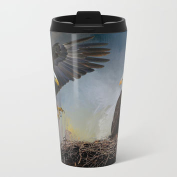 Eagles Nest Metal Travel Mug by Theresa Campbell D'August Art