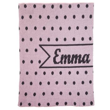 Personalized Pint-Sized Polka Dots & Name Banner Blanket