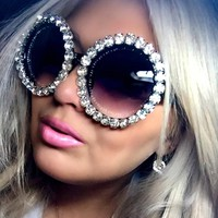 17 Color Oversize Sunglasses Women Round Vintage Luxury Rhinestone Glasses Ladies Sun Glasses Female Sunglasses Oculos De Sol