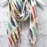 Come Fly With Me Long Multi Color Feather Print Scarf