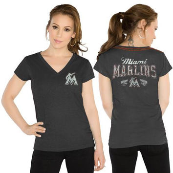 Touch by Alyssa Milano Miami Marlins Ladies Outfield V-Neck Slim Fit T-Shirt - Black