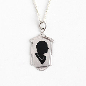 Vintage Art Deco Sterling Silver Black Enamel Silhouette Cameo Necklace - Antique 1920s Flapper in Pearls Shadow Geometric Jewelry Charm