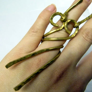 Long movable brass ring , chunky nugold brass , statement ring , big ooak rings