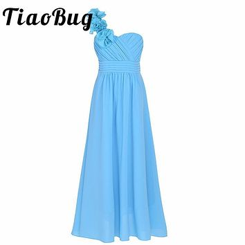 2017 Kids Girls Dress Floor Length Pageant Wedding Party Formal Occassion Bridesmaid Wedding Children Tulle dress with Flower