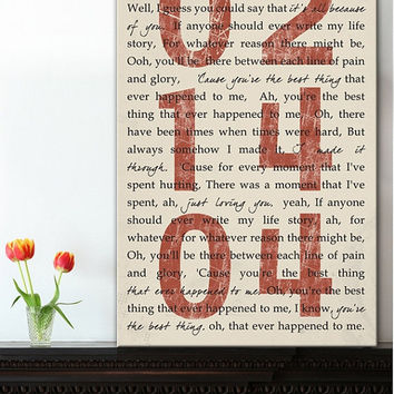 Flash Sale Wedding Quote Sign - Wedding Song Art, Personalized Couples Gift,  Unique Wedding Present, Newlywed Gift, Custom Anniversary Gift