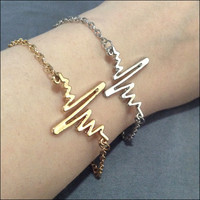 EKG Bracelet ECG jewelry electrocardiogram Heartbeat gift for nurses strange weird unique nurse graduation gifts choice of gold / silver