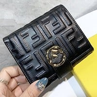 Fendi New fashion more letter leather wallet purse handbag Black
