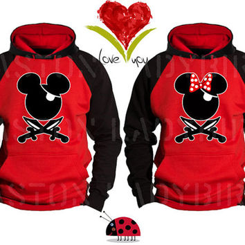 Mickey and Minnie Pirate Faces Kissing Inspired Soul Mate Couple Disney Perfect Matching Love Set Hoodie Sweatshirt - Price For 1 Hoodie -