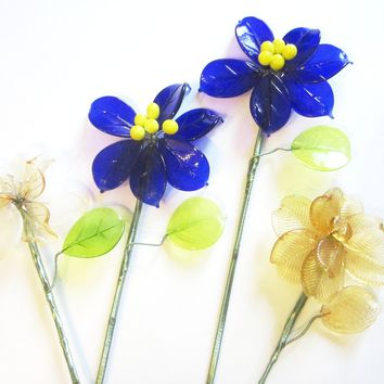 La Murrina Murano Glass Flowers Stemmed Hand Made Signed Scripted Made in Italy