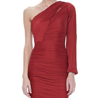 Bell One-Sleeve Pleated Dress, Paprika