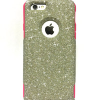 Custom iPhone 6/6s Plus (5.5 inch) Glitter Otterbox Commuter Cute Case, Bling, Sparkly Custom  Glitter - White Gold / Pink  Color