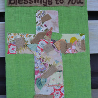 Easter Sign Blessing to You Lime Green patchwork cross bright housewares home decor spring decor