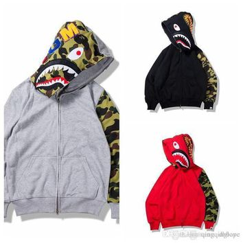Autumn Winter New Japanese Tide Brand Shark Camouflage Half Sleeve Stitch Shark Sweater Cotton Zipper Sweatshirt Hoodie