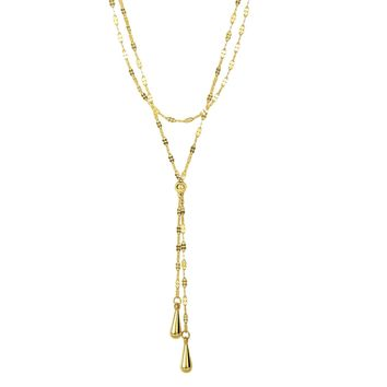 14k Yellow Gold Lariet Teardrop Mariner Necklace, 17""