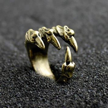 Punk Rock Mens Biker Rings Vintage Gothic Statement Antique Silver Gold Color Dragon Claw Ring For Men Jewelry