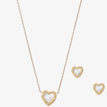 Gold-Tone Heart Necklace And Earrings Set | Michael Kors