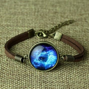 Fashion Leather Bracelet Space Galaxy Bracelets Jewelry for Men/Women