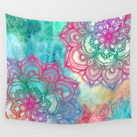 Round & Round the Rainbow Wall Tapestry by Micklyn